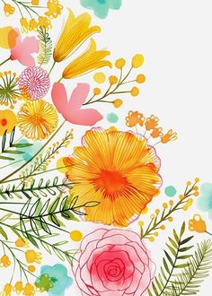 Cheerful, bright flower illustration