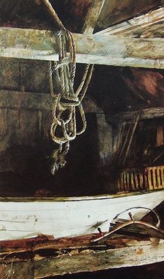 Andrew Wyeth (1917 — 2009, USA) The rope. 1957 tempera on panel. © Andrew Wyeth
