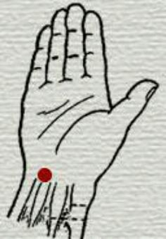 This point belongs to the pericardium Meridian, is very easy to locate as you can see in the image. His name is TALING poetically meaning great Valley. Massage this point for two minutes with your thumb, and feel a generalized sedation. Excellent area for sleeping, hypertension or mitigate some kind of anxiety... balancedwomensblog.com