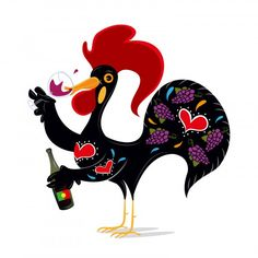 I was invited to do a custom Galo de Barcelos logo/Illustration to represent the Portuguese Wine Invasion that consisted in a tour of Portuguese Wines a. Braga Portugal, Visit Portugal, Lisbon Portugal, Brazilian Portuguese, Learn Portuguese, Portuguese Funny, Portuguese Food, Rooster Art, Rooster Decor