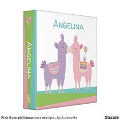Pink & purple llamas cute cool girly trendy school 3 ring binder