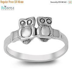 Sideways 2 Cute Owls Love Wisdom Symbol Ring Solid 925 Sterling Silver Plain Simple 2mm Band Wisdom Band Ring Size 4-16