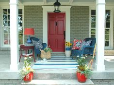Front Porch Makeover Reveal! - The Decorologist, check out the before unpainted brick