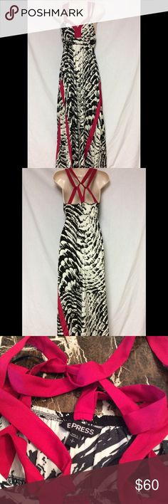 """NWOT EPRESS ZEBRA /PINK MAXI DRESS SIZE SMALL NWOT BEAUTIFUL ELEGANT ZEBRA /PINK MAXI DRESS ,BY EXPRESS...DRESS IS SIZE SMALL.....MEASUREMENTS ARE PIT TO PIT 15"""",,TOP TO BOTTOM 51""""... SORRY NO TRADES... Express Dresses Maxi"""
