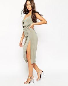 ASOS Crepe Wrap Midi Slip Dress