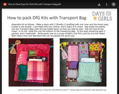 Days For Girls, One Liner, Girls Bags, D Day, Transportation, Packing, Soap, Pocket, Sewing