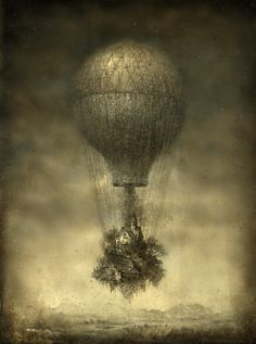 Oh...thought it was an early photograph but then noticed the balloon was carrying a house. Maybe not...