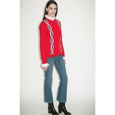 Sonia Rykiel Sweater With Intarsia Chains (830 ILS) ❤ liked on Polyvore featuring tops, sweaters, crewneck, knitwear, red, sonia rykiel top, chain top, crew-neck sweaters, crew knitwear and crewneck sweaters