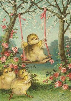 Vintage Easter - chicks and a swing Vintage Cards, Vintage Postcards, Easter Parade, Easter Art, Easter Printables, Easter Holidays, Vintage Holiday, Beltane, Illustrations