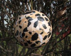 "Leopard print 3"" papier mache ball Christmas ornament"