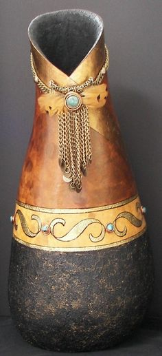 Gourd Art Galleries | gourd-mel-with-added-turquoise-stones