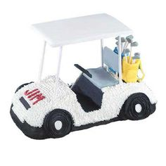 What guy wouldn?t love this golf cart cake? It?s baked in our 3-D Cruiser Pan with piped-icing details and golf bags fashioned from tinted Ready-to-Use White Rolled Fondant.