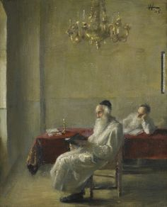 Two Rabbis Reading - Alfred Aaron Wolmark
