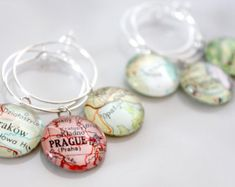 Custom Map Wine Charms (4) - Vintage, Travel, Map, Atlas, Glass