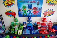 party table pictures, party table ideasPJ Masks Party Table from a PJ Masks Birthday Party on Kara's Party Ideas Pj Masks Birthday Cake, Birthday Party Tables, Superhero Birthday Party, 4th Birthday Parties, 3rd Birthday, Birthday Ideas, Pj Mask Party Decorations, Birthday Decorations, Pjmask Party