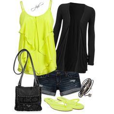 Neon silk ruffle tank over denim shorts and a light black cardigan. Yellow flip flops to match and a black cross-body bag.