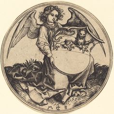 Shield with Lion, Held by Angel, c. 1480, engraving by Martin Schongauer