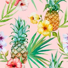 Beautiful Watercolor Vector Tropical Pattern With Pineapples. Royalty Free Cliparts, Vectors, And Stock Illustration. Pic Vector - Beautiful watercolor vector tropical pattern with pineapples and hibiscus Motif Tropical, Tropical Pattern, Tropical Plants, Tropical Flowers, Pineapple Pattern, Fruit Plants, Hibiscus Flowers, Tropical Leaves, Pineapple Wallpaper