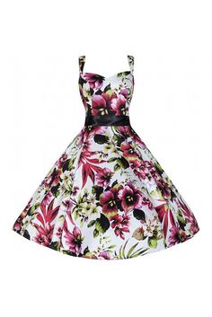 1505a58c8418 White Floral Strappy Swing Dress. Retro DressPretty KittyPretty Cats Rockabilly ...