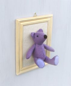Purple bear, felt animal, teddy bear, handmade, picture, soft sculpture, wall decor, for home, for kids room, fauxidermy, OOAK - pinned by pin4etsy.com