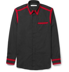 Givenchy - Cuban-Fit Grosgrain-Trimmed Cotton-Poplin Shirt