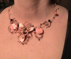 IRIS CORAL NECKLACE- wirework NECKLACE with silver plated and copper wire ,and semiprecious crystals - crystals, corals, pearls; SIZE: 47 CM/3cm ; 18,5 INCH ; unique handmade ; Price – 15 $  ORDERS or more products in https://www.facebook.com/unikat.bijou.handmade.Camely
