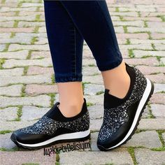 Tatum Siyah Lame Pullu Spor Ayakkabı #sneakers