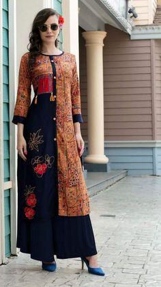 Kurti with print and beautiful embroidery Indian Fashion Dresses, Hijab Fashion, Kurti Embroidery Design, Kurti Patterns, Printed Kurti, Fashion Corner, Batik Dress, Kurta Designs, Indian Designer Wear
