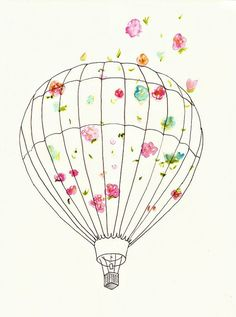 Hot Air Balloon Art Print for Nursery Home by bonjourfrenchie