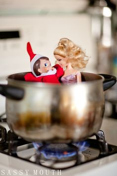 Jerry Snowflake - Naughty Elf on the Shelf - Day 2 - A little makeshift hot tub action, and a rub a dub dub for Mr. Snowflake with Barbie herself.