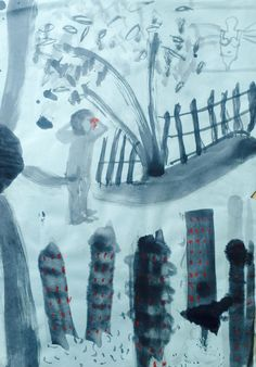 """Holly Froy """"Roundabout (ii)"""" Ink and crayon on paper"""