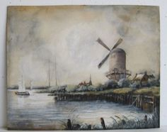 Vtg-Netherlands-Wajik-Windmill-Rhine-River-Landscape-Gouache-Watercolor-Painting