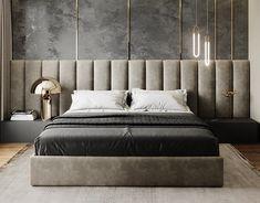 Latest Wall Bedroom Design Ideas That Unique 01 Bedroom Furniture Design, Modern Bedroom Design, Master Bedroom Design, Bedroom Decor, Bedroom Lighting, Furniture Layout, Modern Design, Loft Interior, Home Interior Design