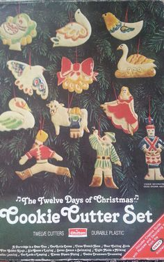 1970's vintage 12 Days of Christmas plastic cookie cutters