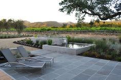 Wine country patio and water feature - modern - patio - san francisco - Huettl Landscape Architecture
