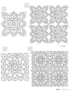 "Photo from album ""Crochet 130 Lovely Motifs & Small Items"" on Yandex. Crochet Motif Patterns, Crochet Designs, Crochet Stitches, Crochet Flower Squares, Crochet Flowers, Crochet Books, Lace Border, Baby Knitting, Crochet Projects"