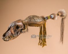 coyote medicine rattle spirit stick with turtle shell rattle