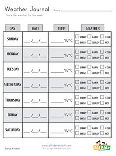 Track the weather for a week with this weather journal. Science Worksheets, Worksheets For Kids, Printable Activities For Kids, Educational Activities, Weather Tracking, Learning Styles, Journal, Kids Worksheets