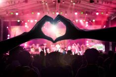 crowd of people at during a concert stock photo