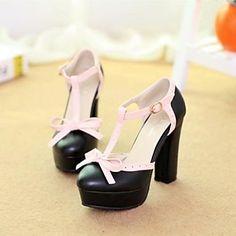 Women's Chunky Heel T-Strap Pumps/Heels Shoes(More Colors - EUR € 20.62