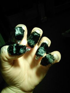 Werewolf nails.  Stick fury fabric to the nails and ur done.