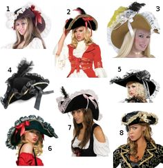 I am looking for a pirate hat to go with my costume for Halloween this year. So far, these are the beauties I've discovered. I'm not sure which is my favorite. What do you think? 1. Hal…