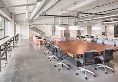 Open office space and ceilings at Collective Health Industrial Office Space, Open Space Office, Office Space Design, Office Ceiling, Open Ceiling, Exposed Ceilings, Commercial Office Space, Community Space, Interior Architecture