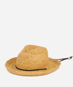 Kids' Raffia Hat with Chin Strap-Natural