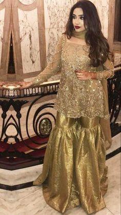 Pakistani Bridal Couture, Pakistani Party Wear, Pakistani Wedding Outfits, Indian Bridal Fashion, Pakistani Dresses, Indian Dresses, Gharara Designs, Wedding Dresses For Girls, Indian Designer Wear