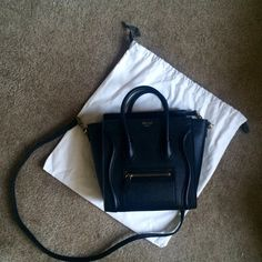 Celine Luggage Nano Smooth Leather in Black Celine Luggage Nano in black smooth leather. Excellent condition. no damage no scratch. Dark gold hardware, comes with dust bag and tags. no trade no low ball please. Celine Bags