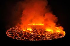 The permanent Lava Lake of the Nyiragongo crater is the biggest in the world. An est. 282 cubic feet of lava. the volcano's rim is 11,380 ft. above the ground