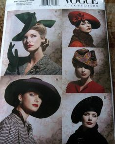 LOVELY 1930s 1940s STYLE HATS VOGUE SEWING PATTERN UNCUT