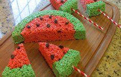 Sprinkle Some Sunshine!: watermelon rice krispies treats party!  http://www.sprinklesomesunshine.blogspot.com/2012/07/watermelon-rice-krispy-treats-party.html