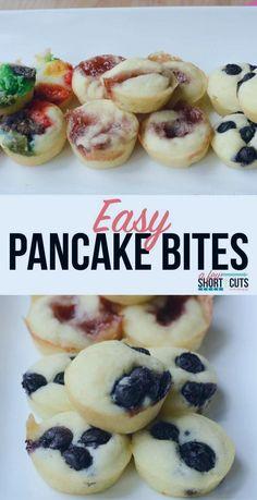 Einfache Pfannkuchenbissen #brunch #brunchrezepte #glutenfrei #rezepte Pancake Bites, Pancake Muffins, Breakfast Muffins, Pancake Squares, Pancake Dessert, Pancakes Easy, Paleo Pancakes, Baby Food Recipes, Easy Recipes